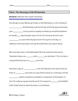 ash wednesday worksheet for lent by the religion tpt