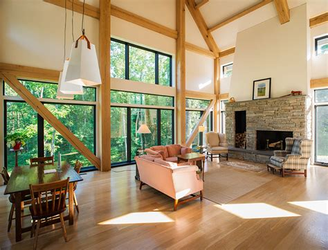 Home Interior Framed by Timber Frame Contemporary Timber Frames New Energy Works