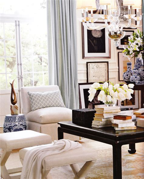 Black Lacquered Coffee Table Transitional Living Room