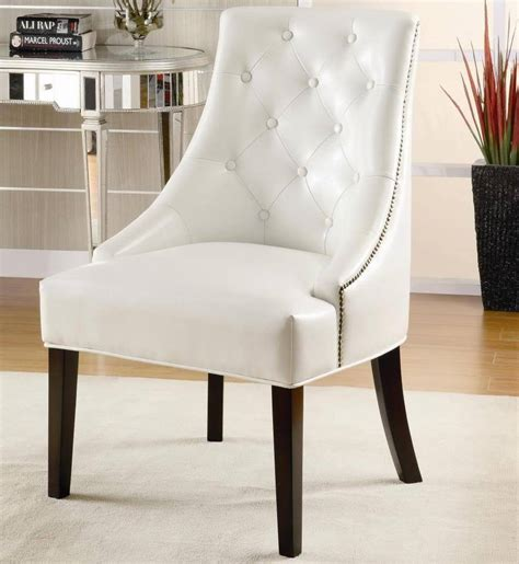 faux leather white accent chair with tufted button