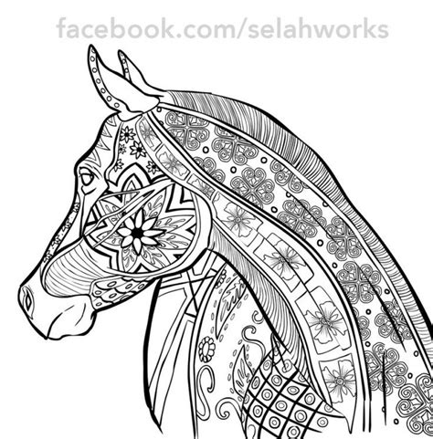 adult hard coloring pages  horse doodle art animal