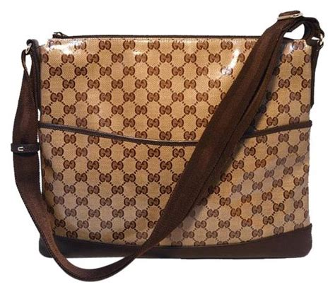 gucci coated monogram canvas  leather trim brown