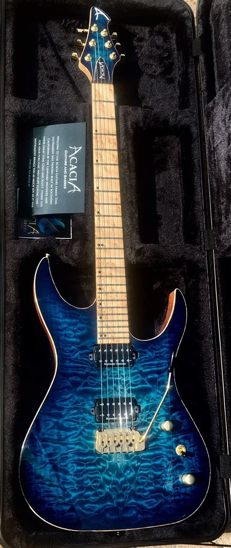 acacia usa custom hades  modern arctic blue aaa quilt top electric guitar case