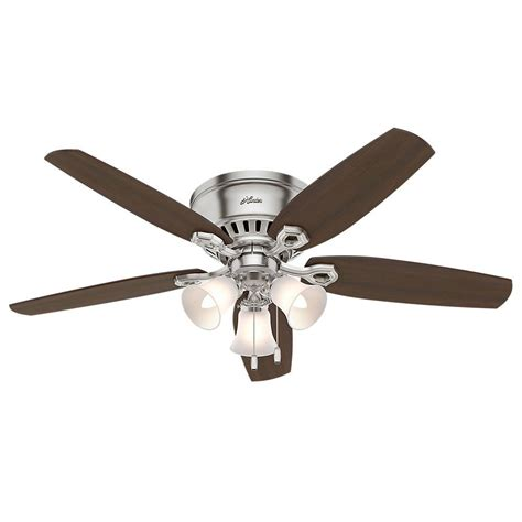 hunter 52 winslow brushed nickel ceiling fan hunter builder low profile 52 in indoor brushed nickel