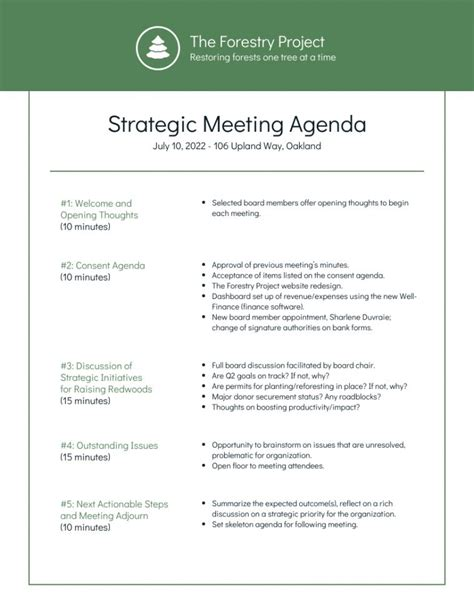 printable nonprofit environmental board meeting agenda