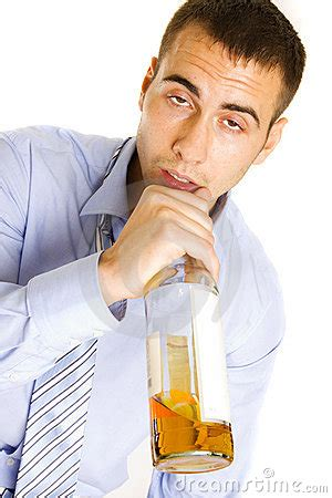 Drunken Man Passed Out From Drinking Alcohol Stock
