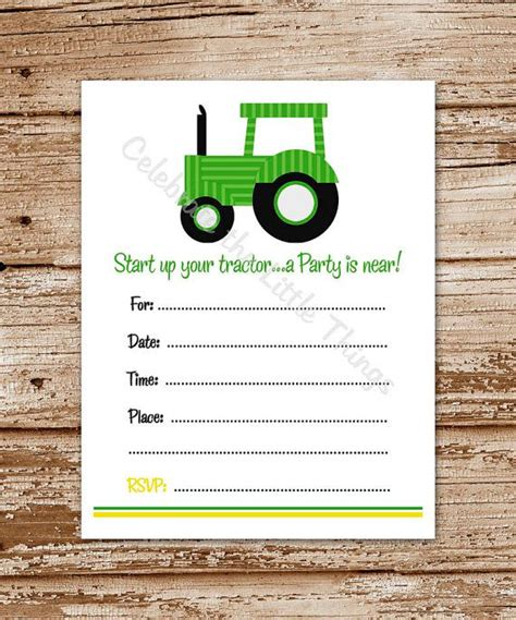 Printable / Green Tractor Invitation / Fill by