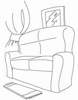 Couch Coloring Pages Sofa Comfy Colouring Template Popular Sketch sketch template