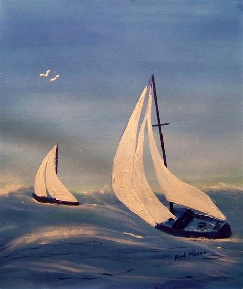 Small Boat Large Waves by Big Waves And Small Boats Painting By Rich