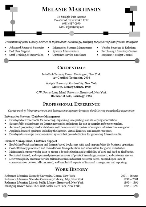 career change resume sle librarian resume transitioning career to information technology