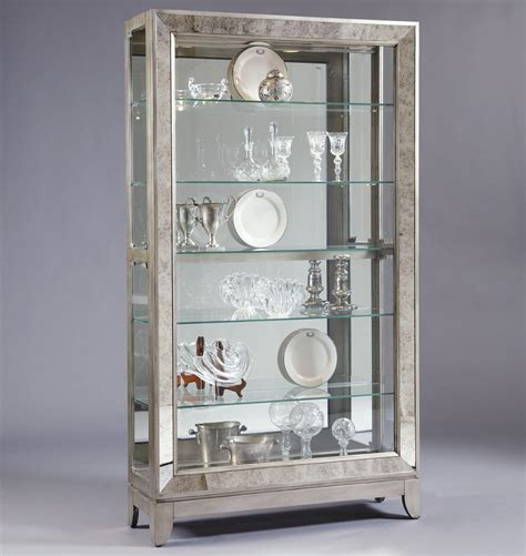 Furniture Willmott Curio Cabinet by Pulaski Furniture Curios Platinum Side Entry Curio Cabinet