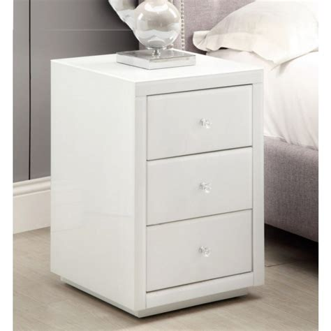 wall drawers bedroom pair vegas mirrored white glass bedside table mirror