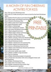 a month of fun christmas activities for kids free printable crafts on sea
