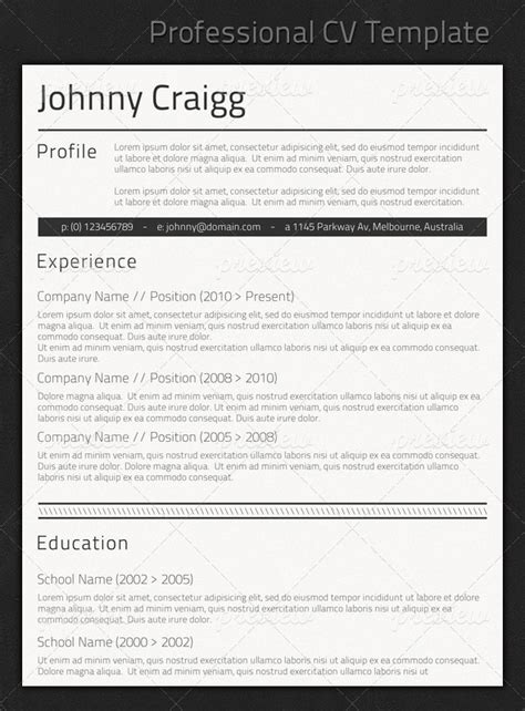 Professional Looking Cv Templates by Professional Cv Template Prints Codegrape