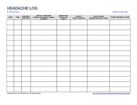 download the headache and migraine log from vertex42 com