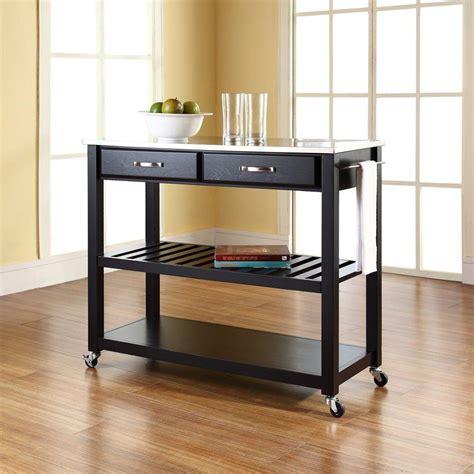 crosley black kitchen cart  stainless steel top