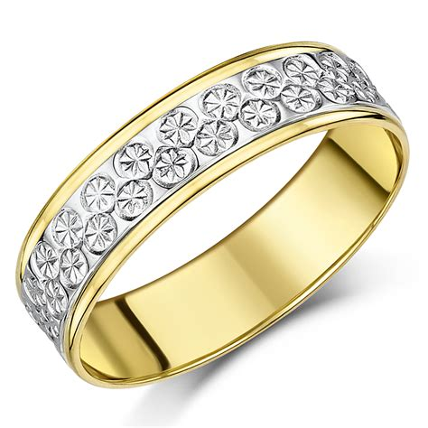 6mm 9ct yellow white gold two tone designer wedding ring band two colour at elma uk jewellery