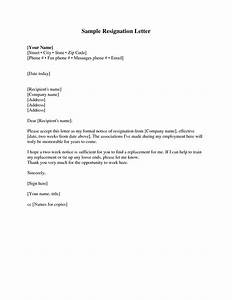 New Letter Of Resignation 2 Weeks Notice Template Best Template