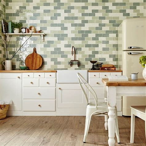 kitchen tile ideas uk pistachio green tiles country cottage metro tiles 6271