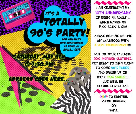 90s invitation template themed the 90 s events by