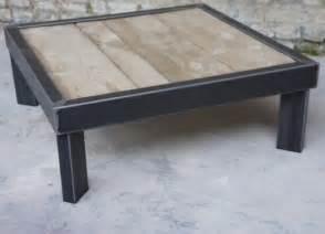 table basse bois metal sur pied table basse design
