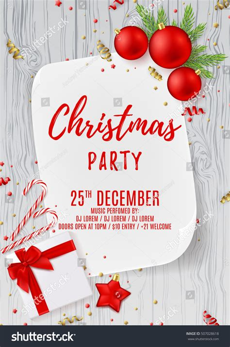 Merry Christmas Party Flyer Top View Stock Vector