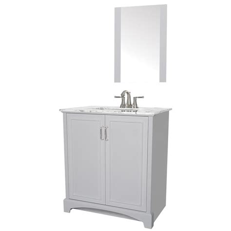 White Vanity With Gray Top by Sheffield Home 30 In W X 19 In D Bath Vanity In