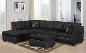 black microfiber sectional with black leather base With black microfiber sectional sofa with ottoman