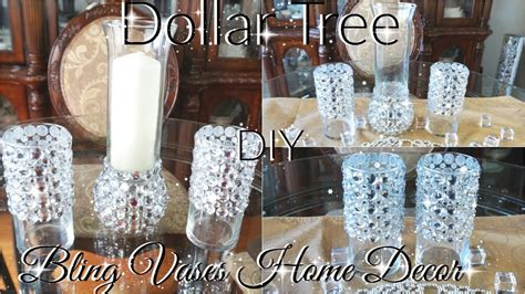 diy dollar tree bling vases  candle holder decor