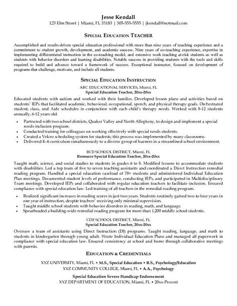 special education resume   top pick  special