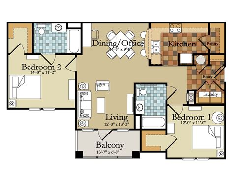 Two Bedroom Apartment Floor Plans Apartments Apartment Springfield Mo The Along With