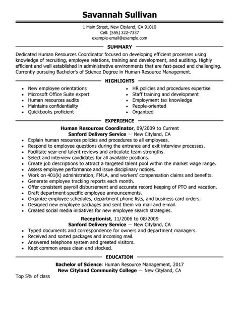 Facilitator Resume Templates by Hr Coordinator Resume Template Sle Resume Cover
