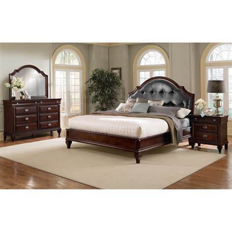 manhattan 6 piece king bedroom cherry value city furniture