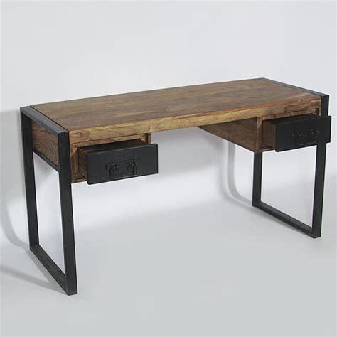 meuble bureau metal bureau industriel bois et métal 2 tiroirs made in meubles
