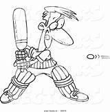 Cricket Coloring Cartoon Playing Pages Outline Jiminy Bat Player Sports Quiet Very Getdrawings Clipart Illustrations sketch template