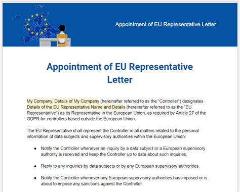gdpr appointment  eu representative letter termsfeed
