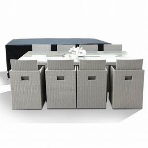 Bricorama Salon De Jardin : salon de jardin avec 8 fauteuils encastrables gris clair ~ Dailycaller-alerts.com Idées de Décoration