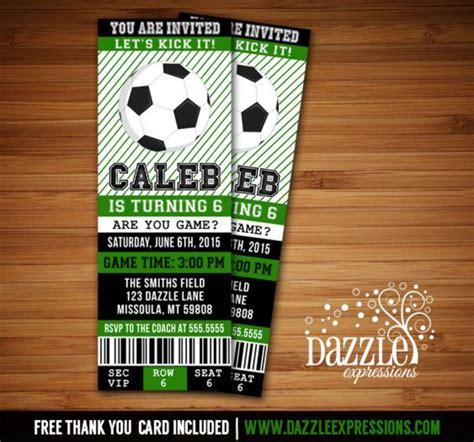 printable soccer ticket birthday invitation futbol
