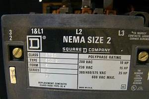Square D Overload Relay Nema Size 2 Starter 200vac 10hp