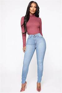 Classic High Waist Skinny Jeans Light Blue Wash Jeans