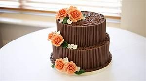 2 Tier Chocolate Cigarello Wedding Cake - Bakealous