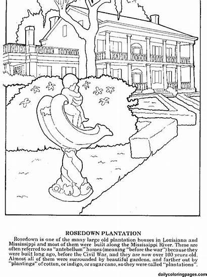 Louisiana Coloring Plantation History Worksheets Pages Plantations