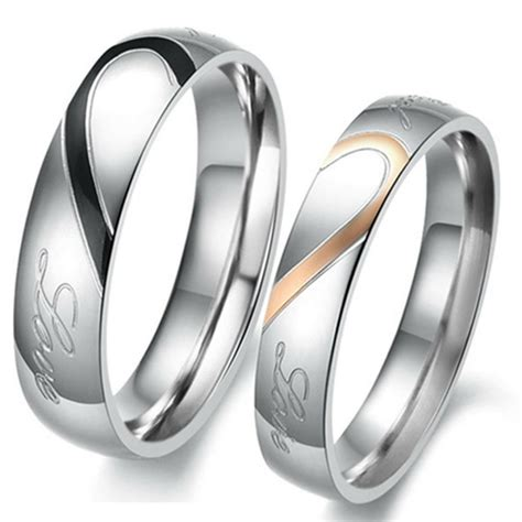 couple love heart stainless steel comfort fit wedding bands promise ring hs8 ebay