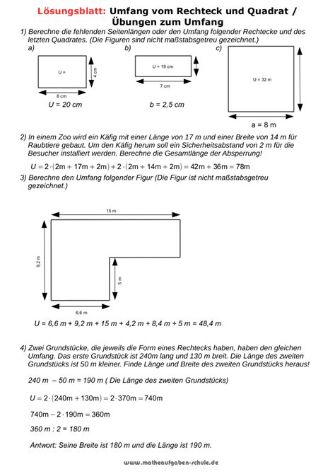 matheaufgaben umfang und flaecheninhalt