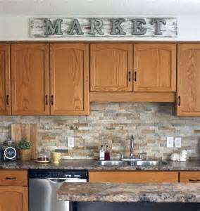 kitchen backsplash pictures with oak cabinets how to make a galvanized market sign backsplash