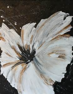 Black and White Acrylic Flower Paintings