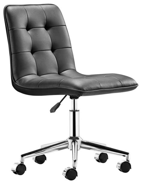 zuo scout black armless office chair contemporary