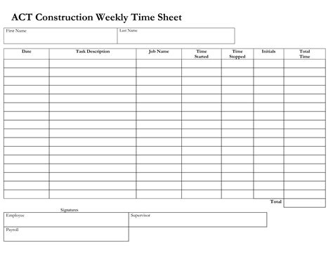 construction weekly time sheet templates