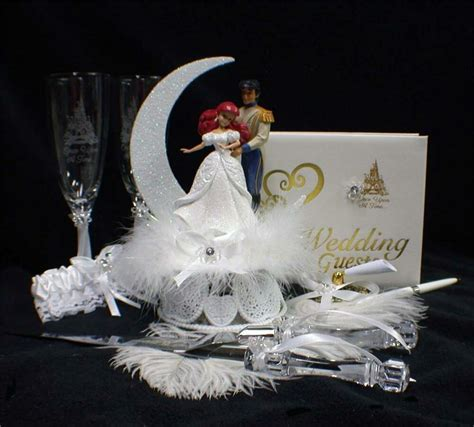 disney  mermaid prince fairytale wedding cake topper