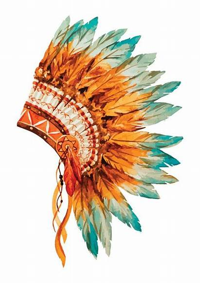Headdress Native Indian American Watercolor Chief Tattoo